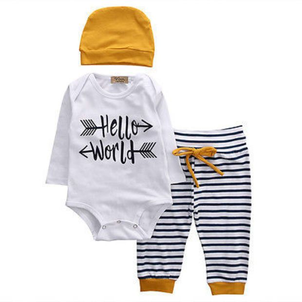 US 3PCS Newborn Baby Infant Boy Girl Romper Top Pants Hat Outfit Clothes Set