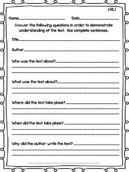 Reading Literature Assessments Common Core 2nd Grade Rl 1 Rl 10