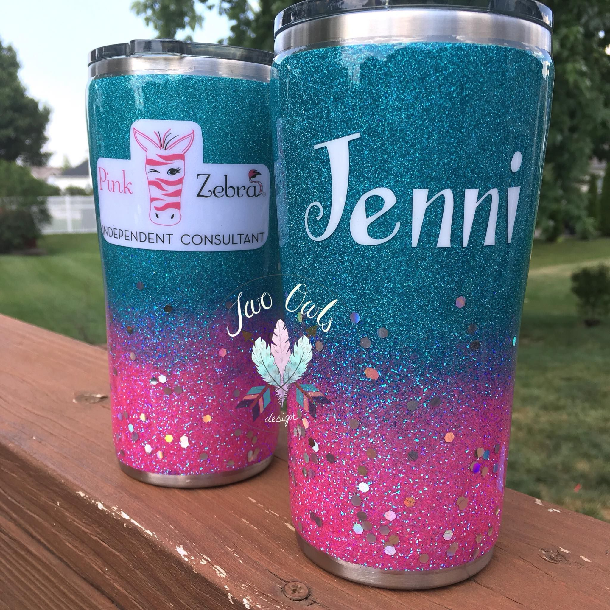 Custom Personalized 20 oz Glittered Stainless Steel Tumbler