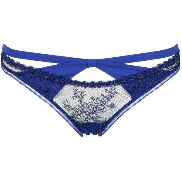 LA PERLA Tulle & Georgette Brazilian Brief ($158) ❤ liked on Polyvore featuring intimates, panties, lingerie, underwear, undergarments, la perla, royal blue, royal blue lingerie, la perla lingerie and underwear lingerie