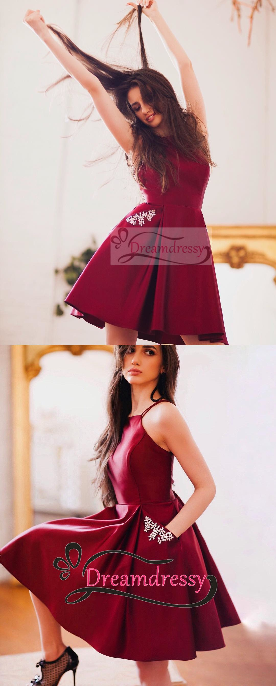 Short homecoming dresses wine red homecoming dresses with pockets