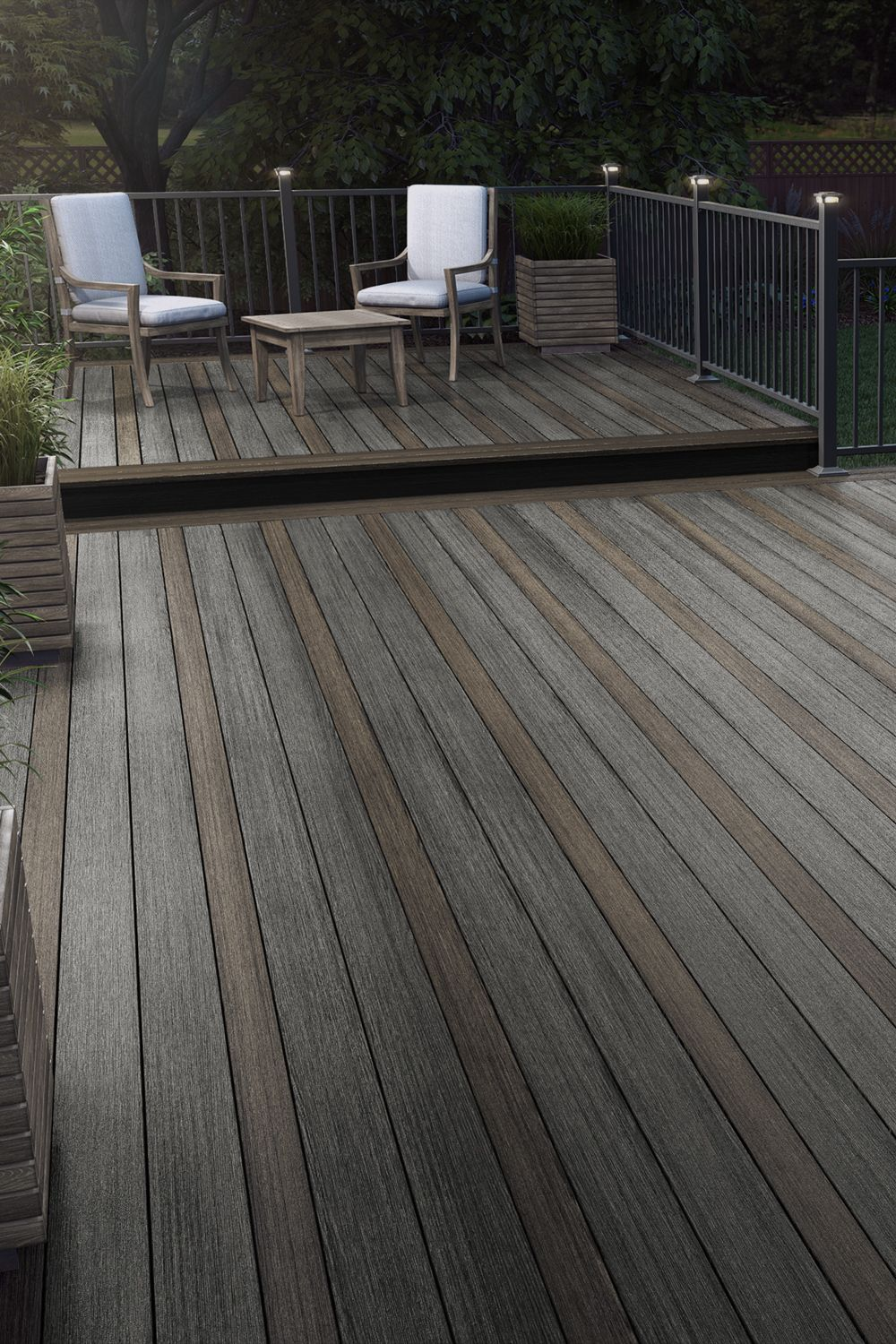 Alternate Deck Board Size And Color To Create A Look As Unique As You Trex Deck Cost Building A Deck Deck Colors