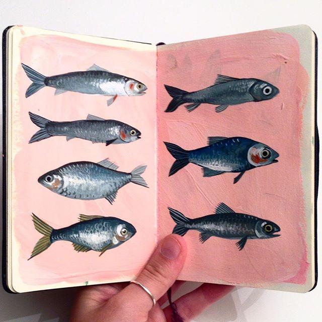 Peixes Desenhos Realista Arte Sketchbook Illustration Sketch Book