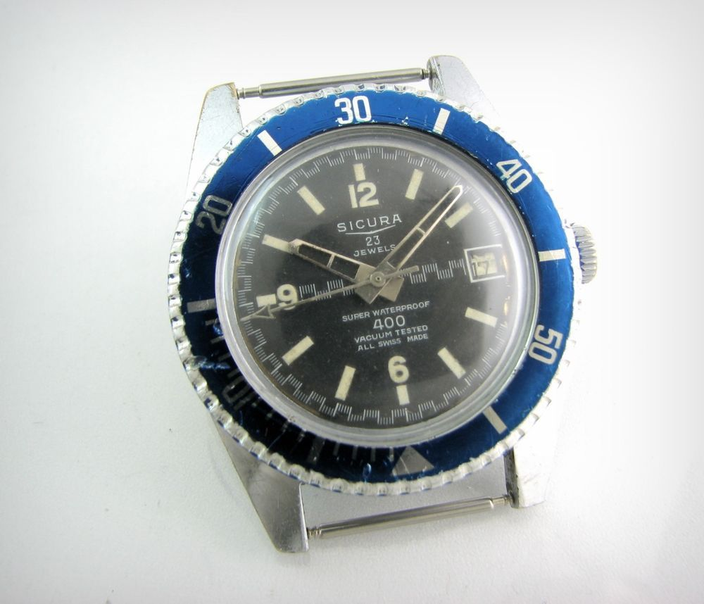 buy popular 3cb5d cc1bc Vintage Diver Watch SICURA Submarine by BREITLING...Oversize ...