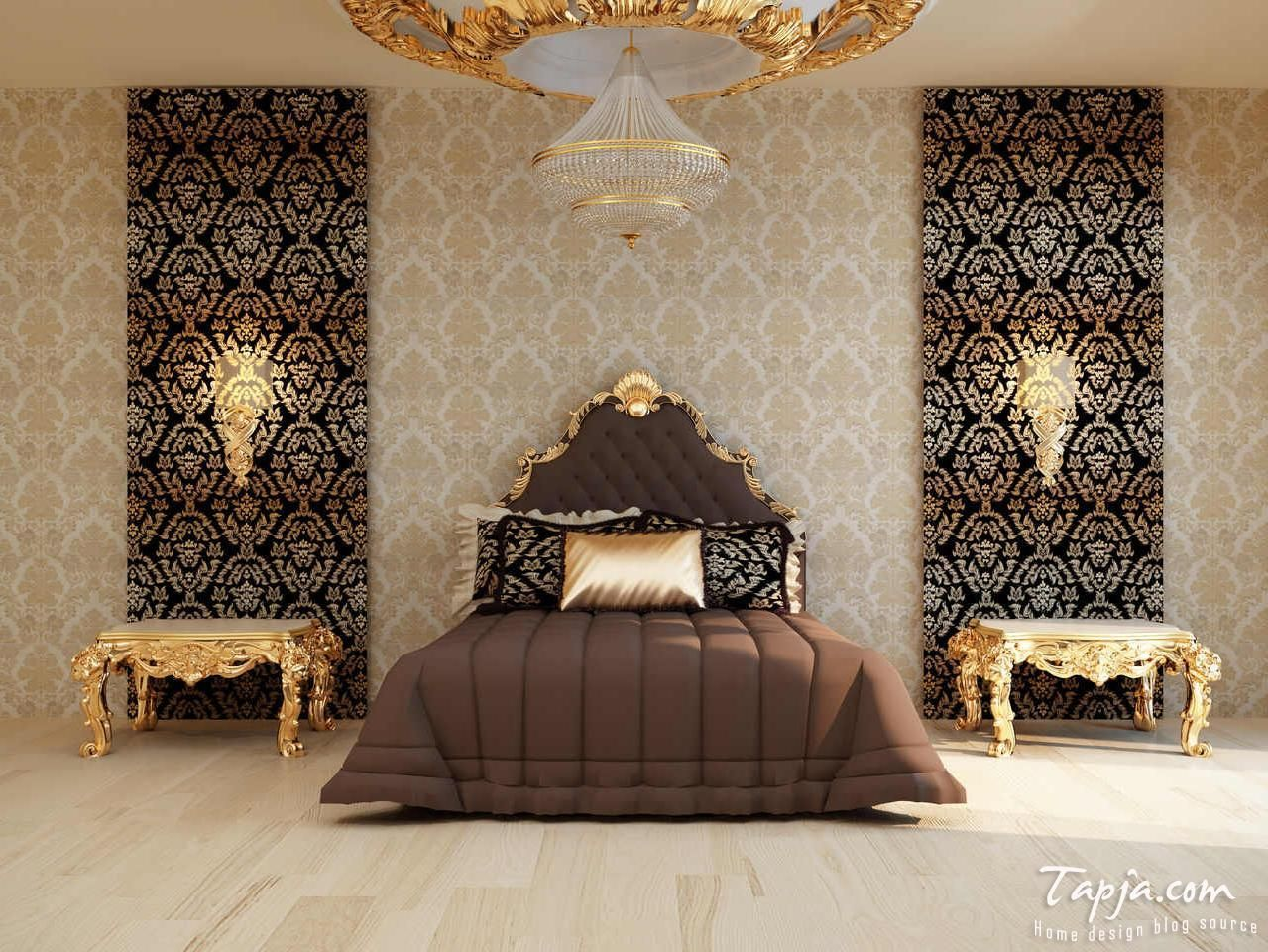 Modern Bedroom Decoration With Gold Color Accent And Brown Color Combination Bedding Plus Decorative Gold Wallpaper