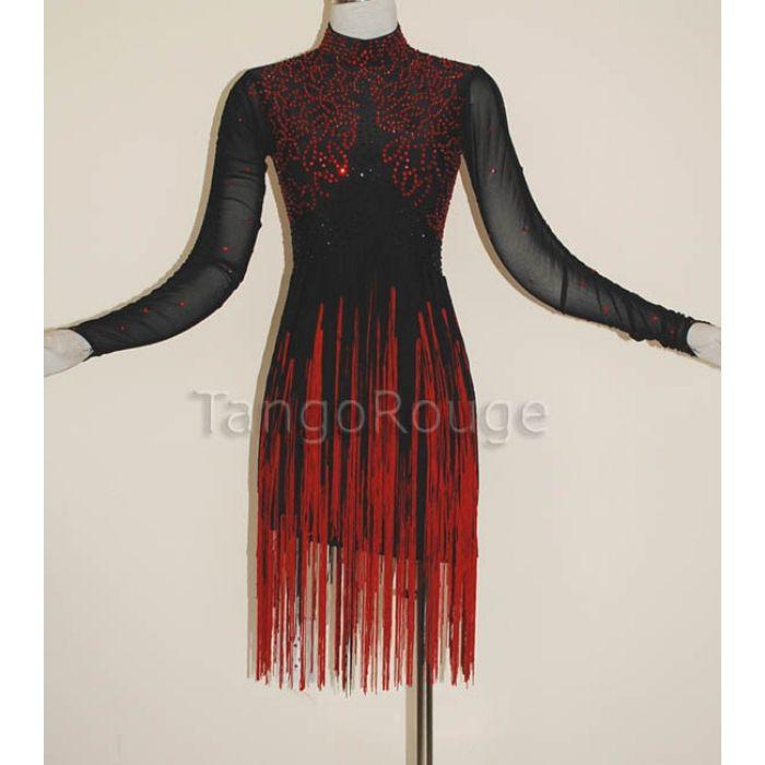 6fb63f74d9 red fringe dresses   Black Red Fringe Latin Salsa Dance Dress ...