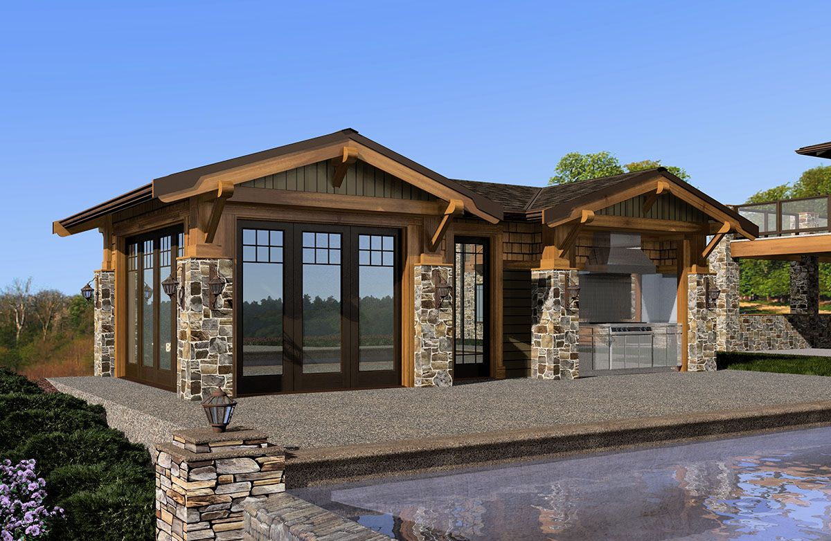 Plan 23451jd Mountain Cabana With Views Pool House Plans Pool House Designs Architectural Design House Plans