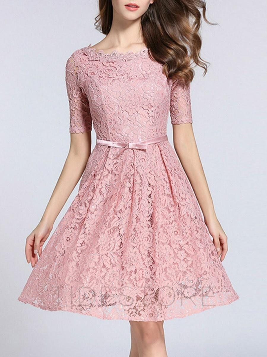 tidestore - tidestore Chic Solid Color Half Sleeve Lace Dress ...