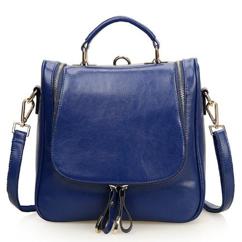 a6bcf39d11 EcoCity Ladies Small Leather Shoulder Messenger Bags Handbag Purse-Backpack  (Blue) EcoCity http