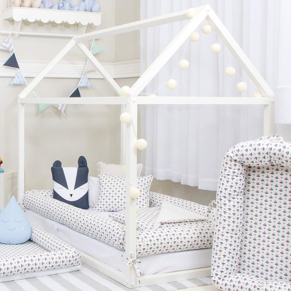 Cama Montessoriana Branca Quater Baby Enxoval Babyenxoval  ~ Decoração De Quarto Com Luzes E Quarto Simples Para Bebe