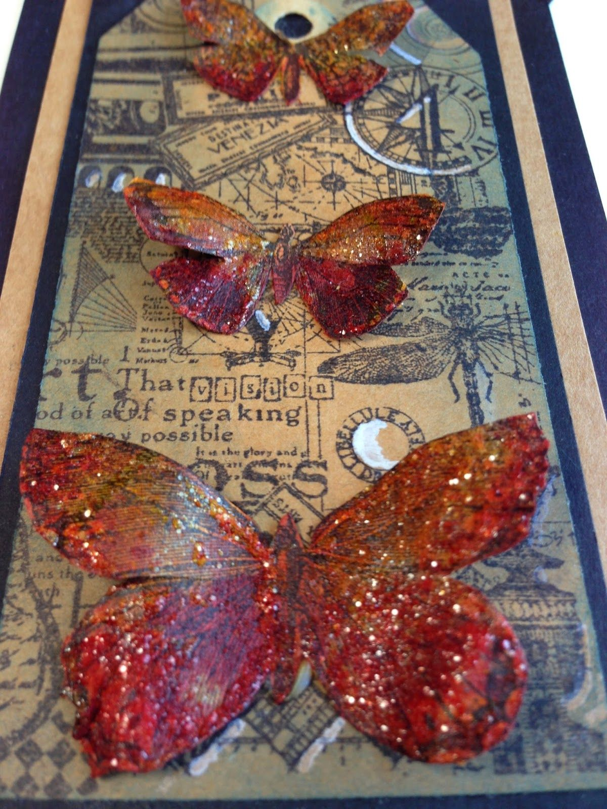 Dee Adams: Tim's clasic's butterflies  Butterflies colored with red brick and spiced marmalade distress stains then coated with rock candy stickles on the wings.