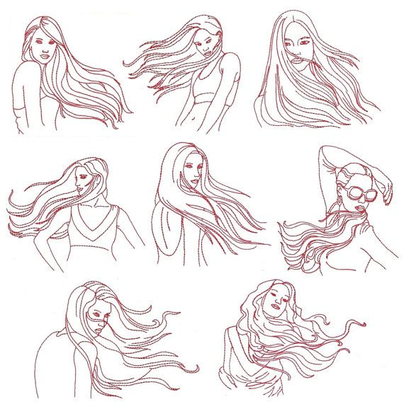 Redwork Embroidery Patterns Machine Embroidery Designs Redwork Ladies Blowing In The Wind 5 X 7 How To Draw Hair Hair In The Wind Wind Drawing