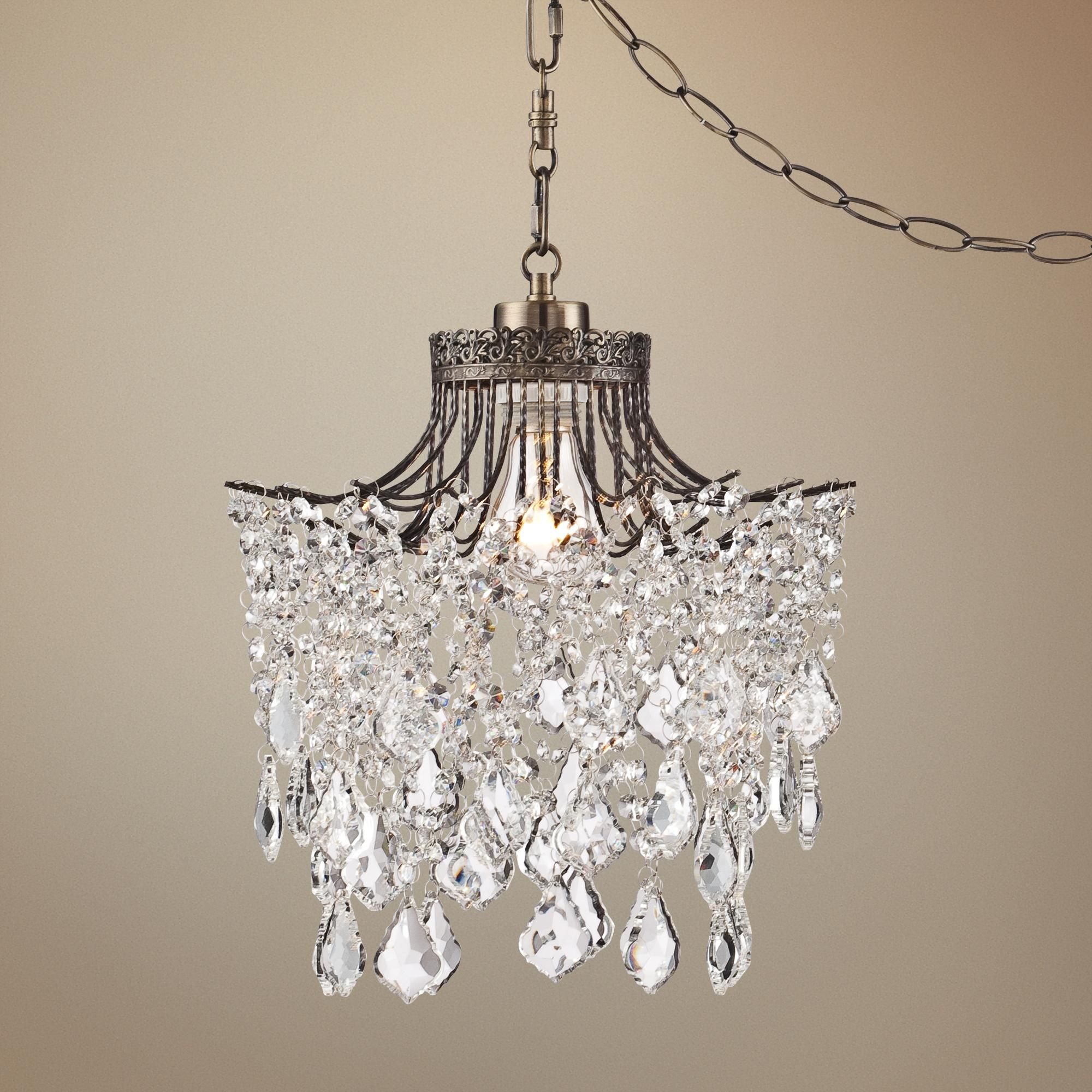 "Brielle Antique Brass 12"" Wide Crystal Plug In Swag Pendant"