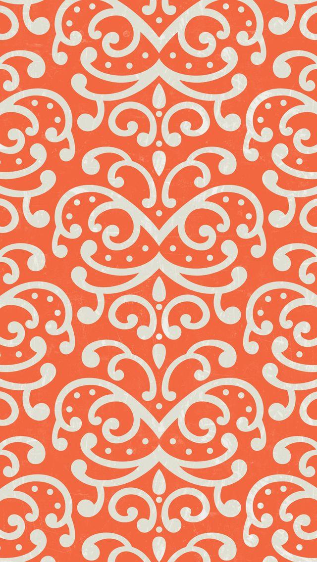 iphone 5 wallpaper orange damask pattern mobile
