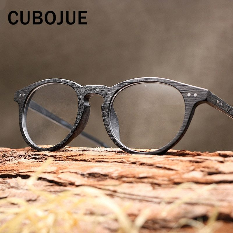 1b77f7200ef Cubojue Vintage Round Acetate Glasses Women Men Wooden Grain Eyeglass Frames  for Prescription Retro Spectacles Quality Brand Review