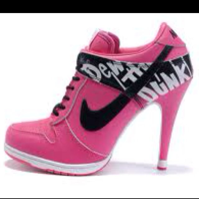 Womens Hot Pink and Black Nike Heels Dunk SB | Nike high