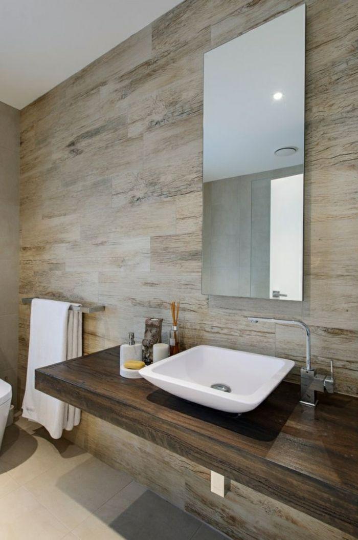 Charmant Badefliesen Holzoptik Waschtisch Badideen Wandspiegel