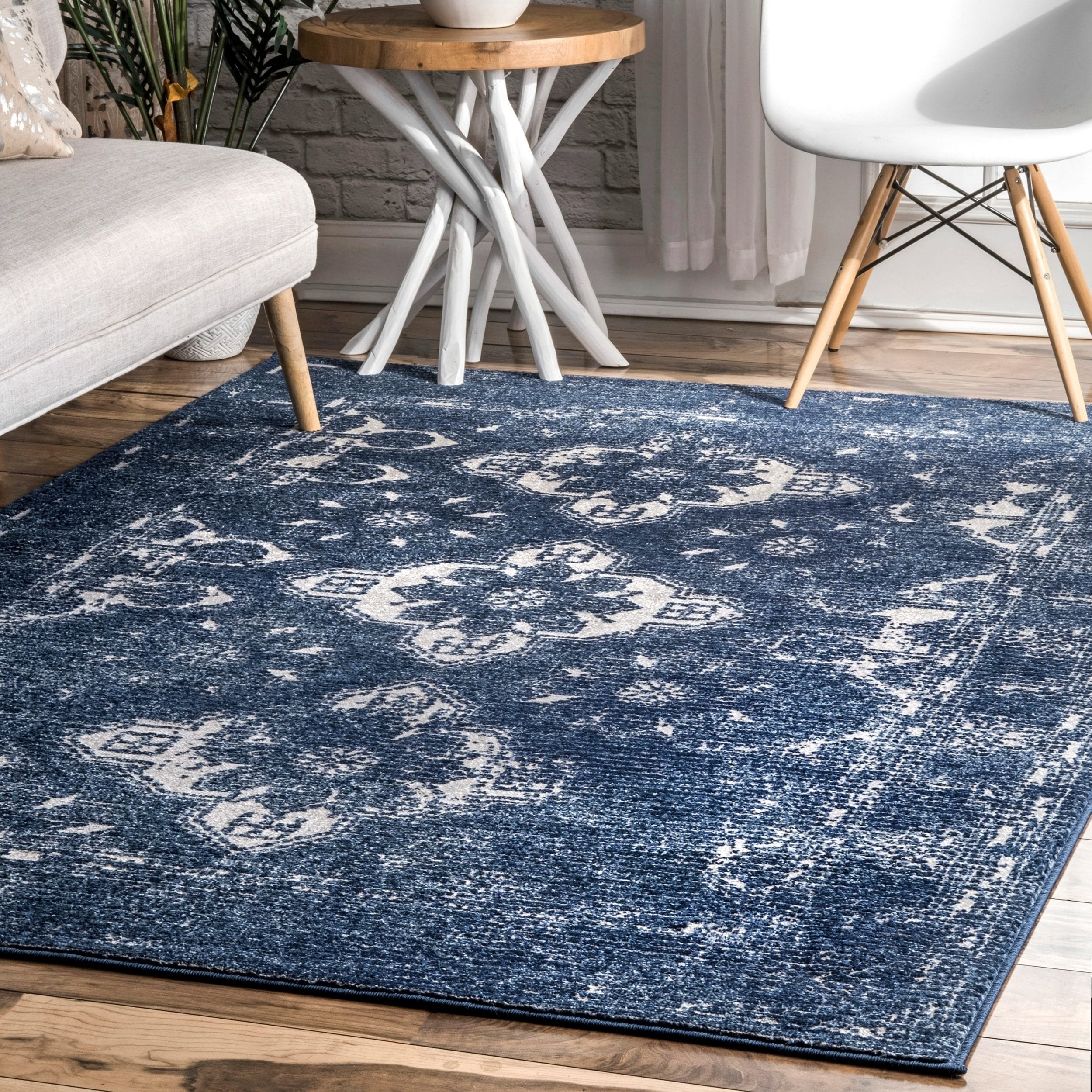 Porch Den Wewatta Navy Distressed Ornamental Floral Diamond Area Rug Area Rugs Traditional Area Rugs Rugs