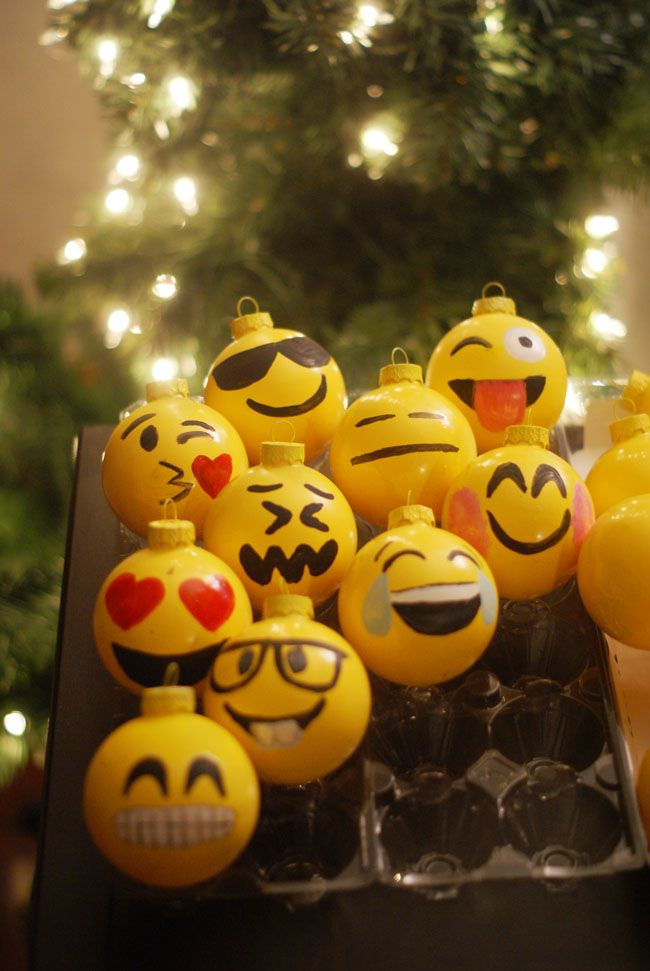 Diy Emoji Ornaments Emoji Christmas Diy Christmas Ornaments Xmas Crafts