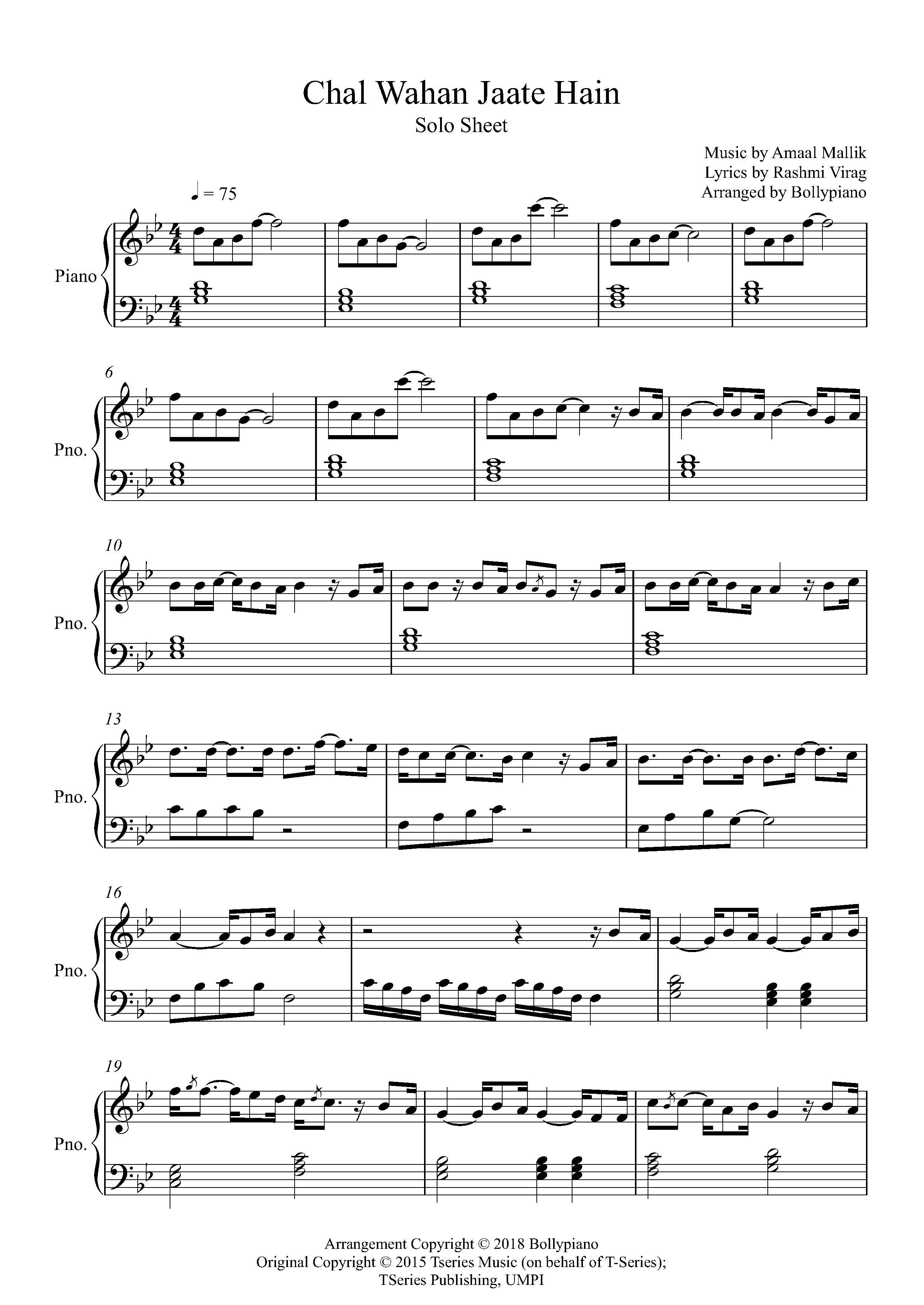 Chal Wahan Jaate Hain Piano Notes Piano Solo Sheet Music Pdf In
