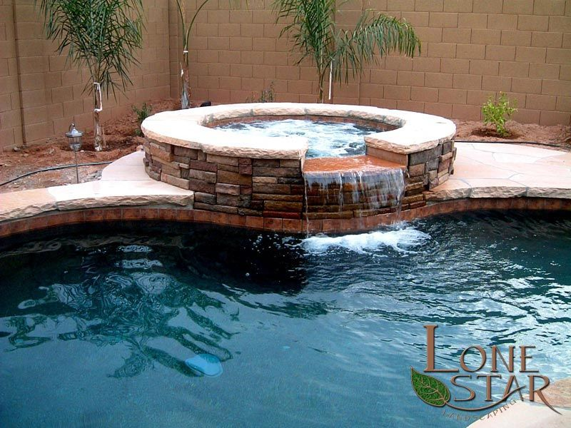 Flagstone Coping On Pool And Spa With Stone Veneer Landscape Stone Work