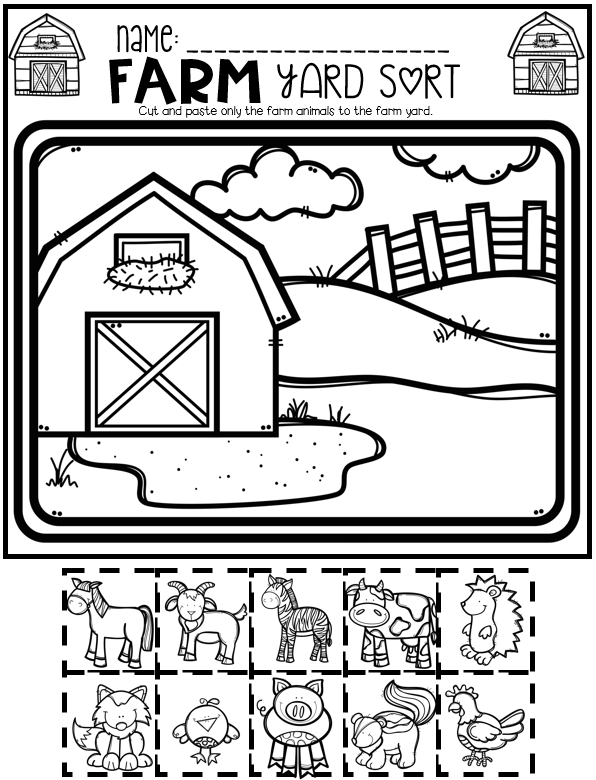Farm Math and Literacy Worksheets for Preschool Farm