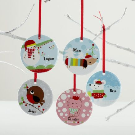 Kids Ornaments: Colorful Personalized Ornaments - Personalized Dog Ornament. Perfect for kids, these cartoon-like ornaments feature different animals in vivid colors. Order them personalized to create a keepsake you'll cherish for a lifetime or until next Christmas. Details, details - Nod exclusive - A Jillian Phillips design - Each ornament features a charming pattern on back - Porcelain ornaments can be personalized with name up to 12 letters - Includes a red grosgrain ribbon for hanging…