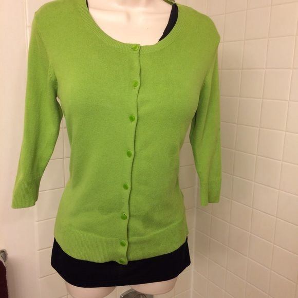 Lime Green Button Down 3/4 Sleeeve Sweater Cute lime green button ...