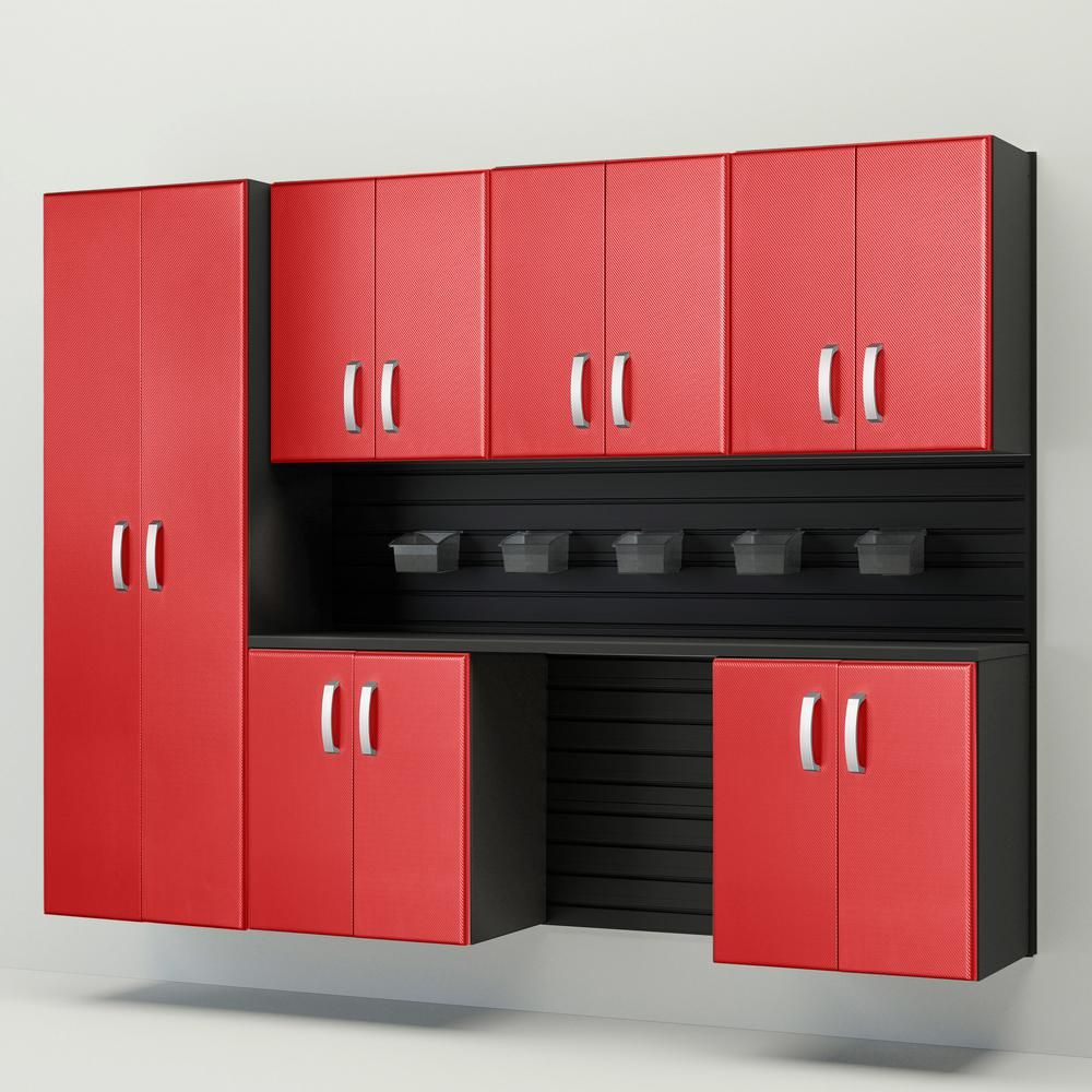 Flow Wall Modular Wall Mounted Garage Cabinet Storage Set With Accessories In Black Red Carbon Fiber 7 Piece Fcs 9612 6b 7rc The Home Depot Garage Storage Cabinets Garage Cabinets Storage Cabinets