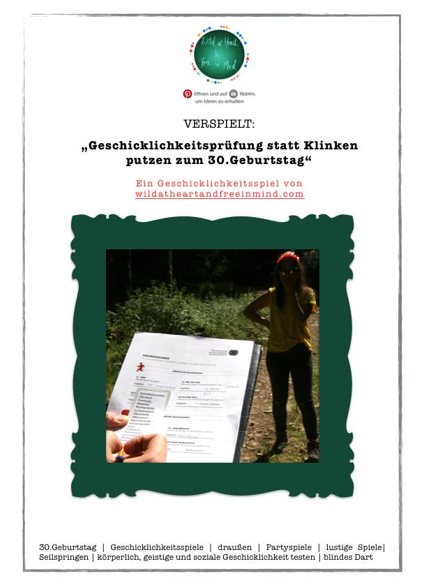 Verspielt Geschicklichkeitsprufung Statt Klinken Putzen 30 Geburtstag Spiele Geschicklichkeitsspiel Geburtstag