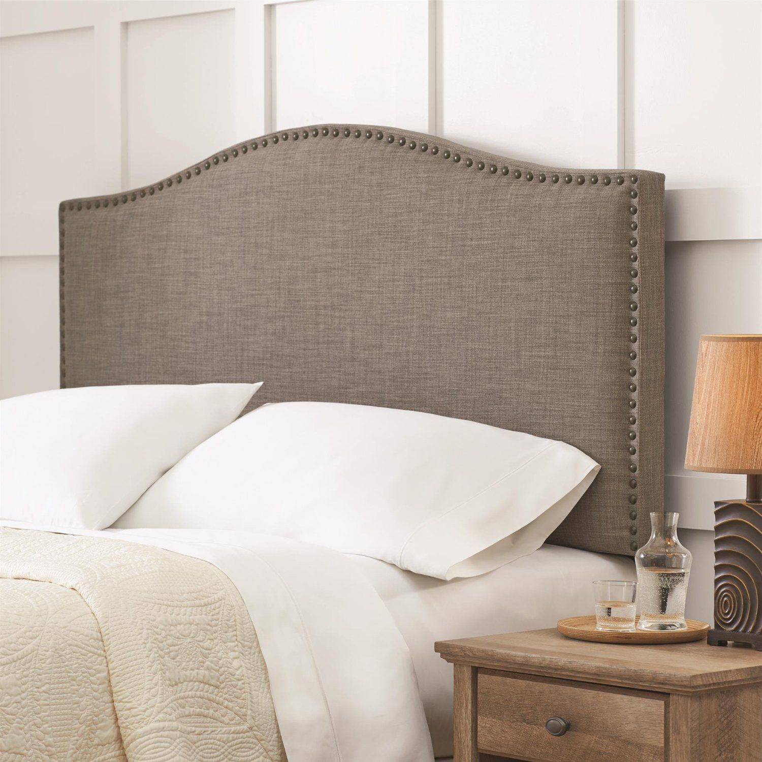 Better Homes And Gardens Grayson Linen Full Queen Headboard With Nailheads