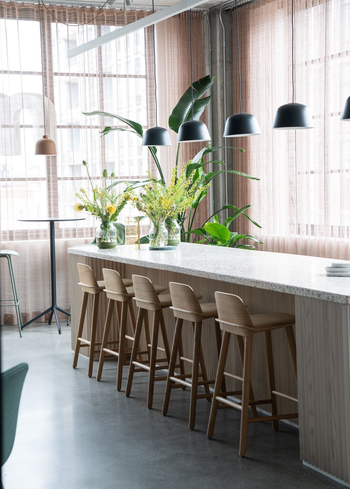 Scandinavian Bar Stool Inspiration For Office Interior From Muuto With Seamless Integration Of The Back Scandinavian Bar Stool Bar Stools Unique Office Spaces