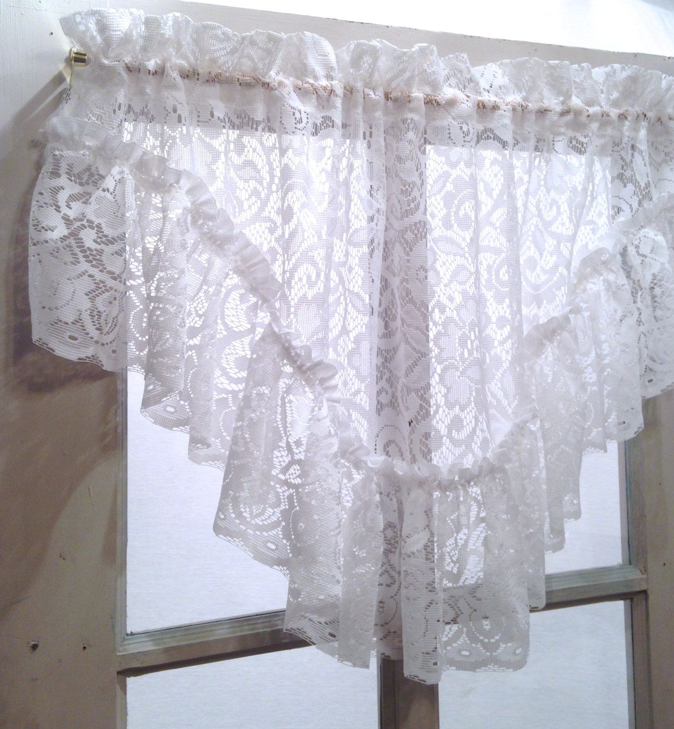 Victorian white, French shabby chic lace ruffled valance; polyester ...