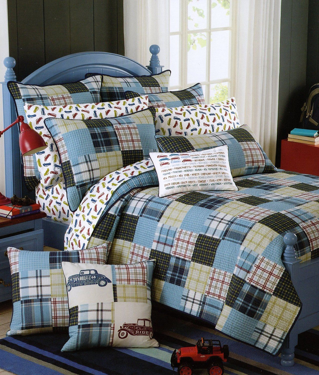Red Truck Moving Co Plaid Quilt Set 2-Piece Cotton Reversible Quilt Set, Twin Coverlet Bedspread Boys Bedding (Twin)
