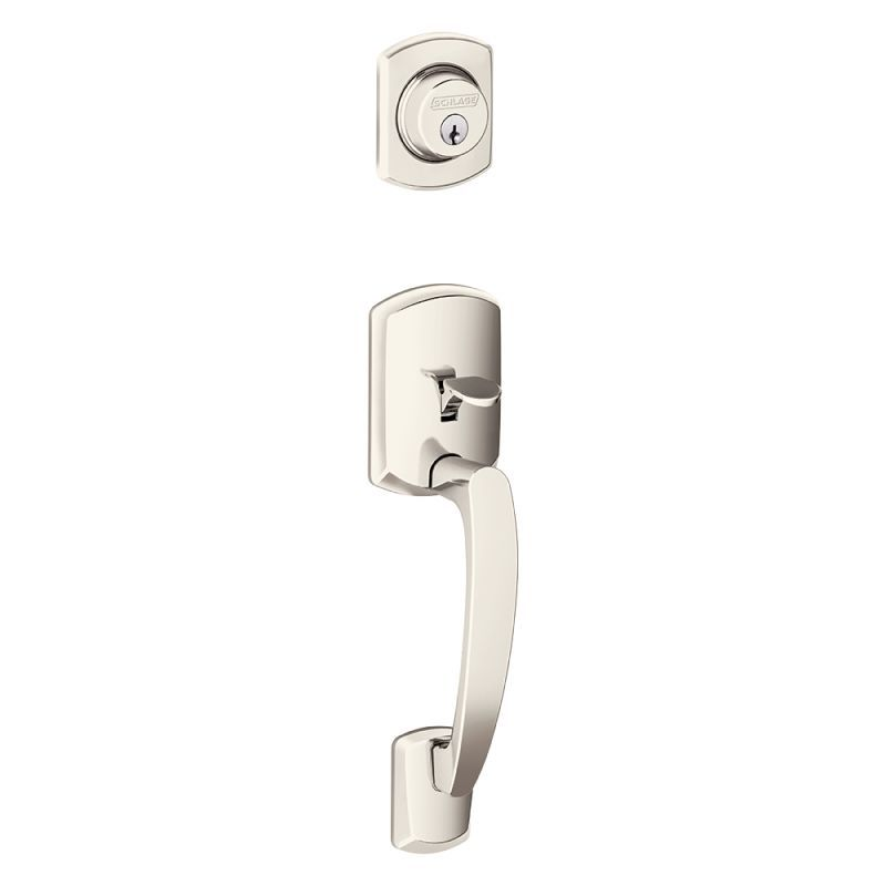 Schlage F58-GRW Greenwich Single Cylinder Exterior Entrance Handleset from the F Polished Nickel Handleset Keyed Entry Single Cylinder