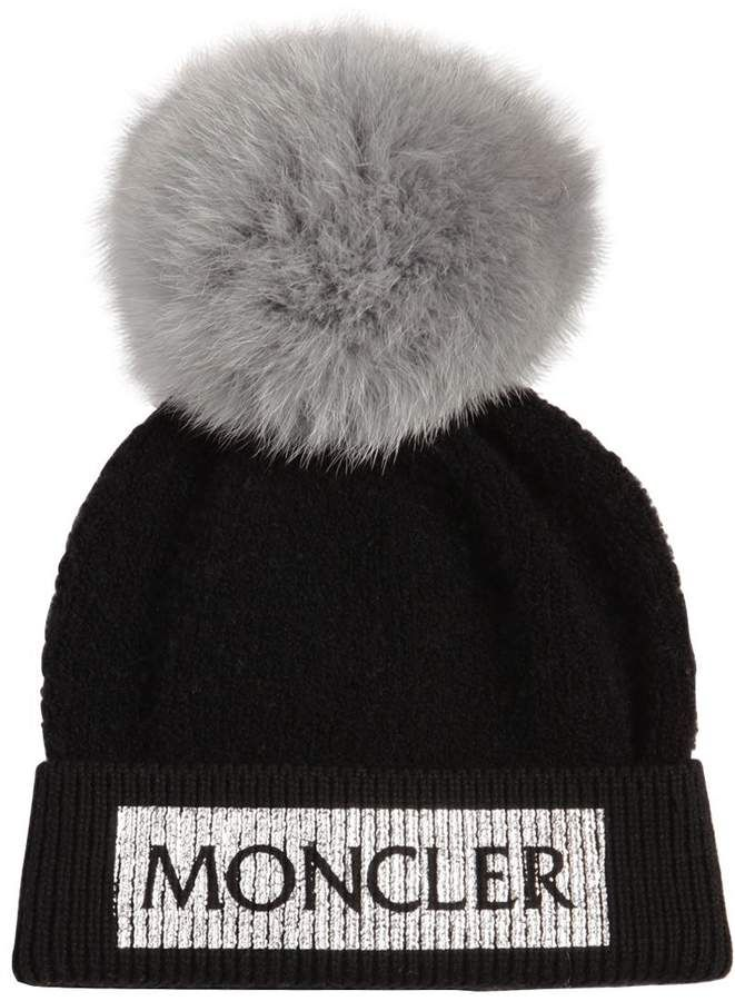 3fef36f8e30 Moncler Logo Wool Knit Beanie W Fox Fur Pompom