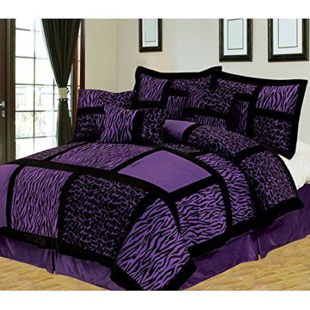 Empire Home Safari 7 Piece Purple Queen Size Comforter Set