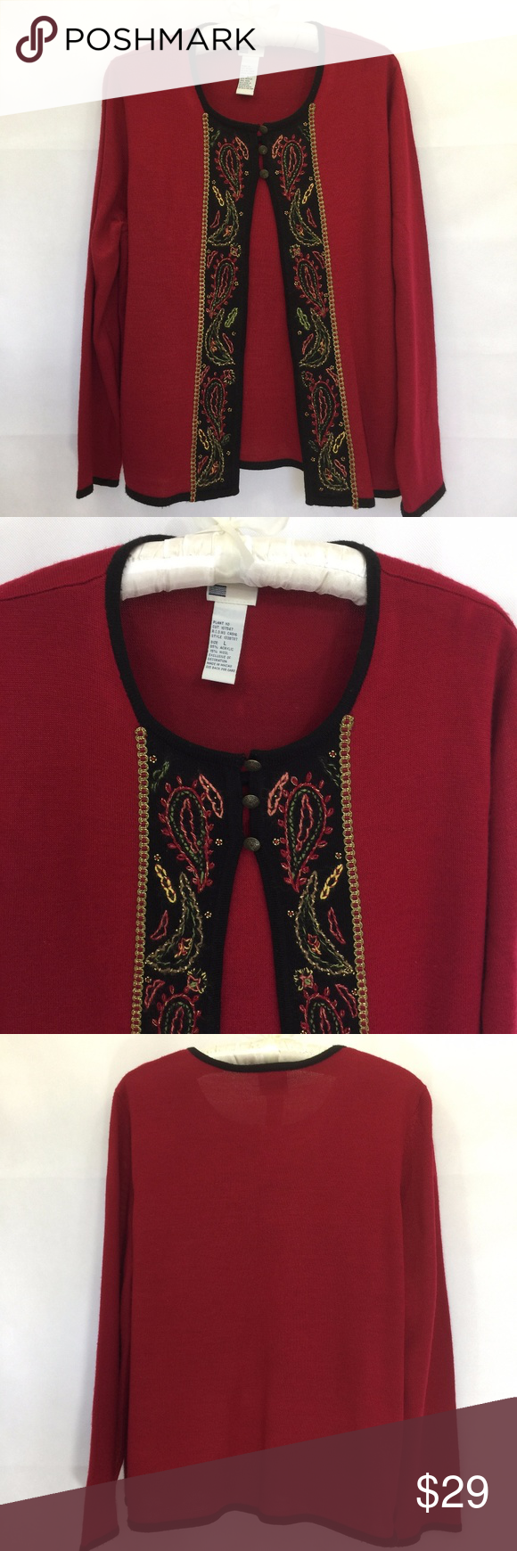 Red and black flannel cardigan  Koret Faux Twinset Sweater Wool Blend Embroidered  Metal buttons