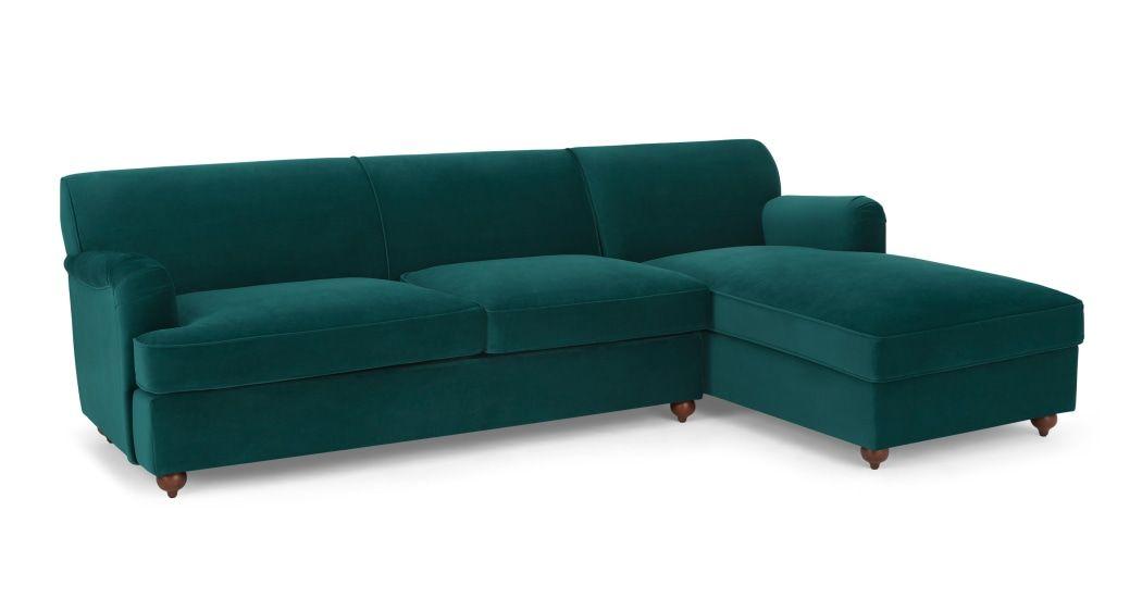 MADE Seafoam Blue Velvet Corner sofa bed | House shopping in ...