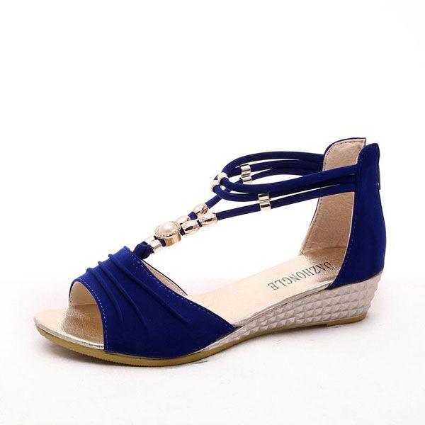 d72e9be54 Sale 22% (18.64 ) - Women Beaded Flat Sandals T Strap Summer Beach ...