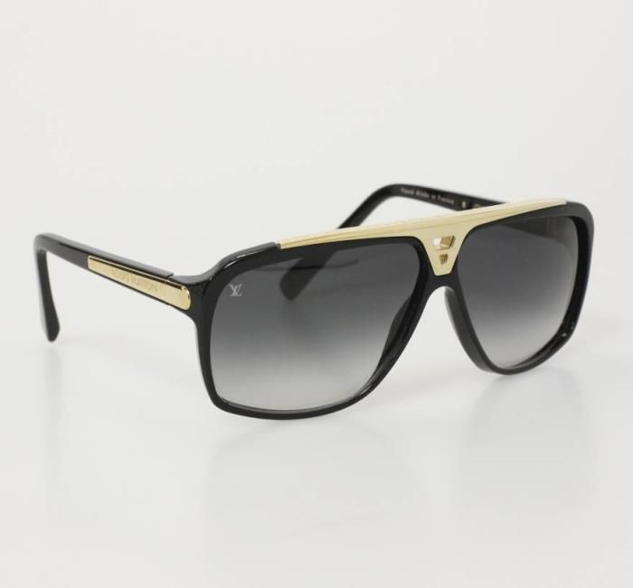 a1a2c59fe2c Louis Vuitton Sunglasses (Women s Pre-owned LV Black   Gold Flat Top Sun  Glasses)