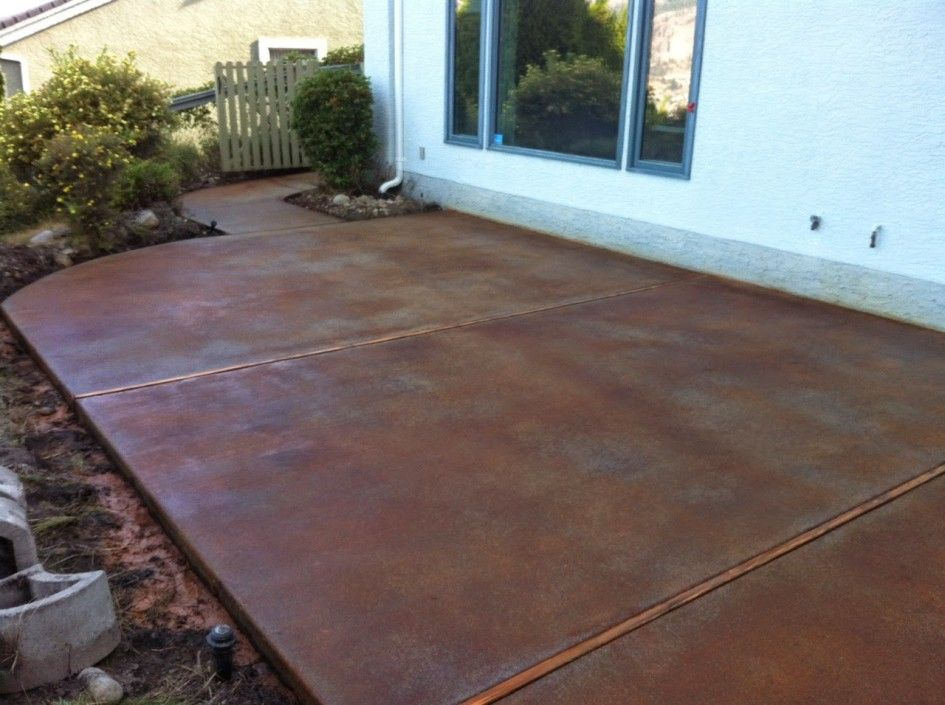 Patio paver lovely acid staining concrete patios for large for How to clean outdoor stained concrete