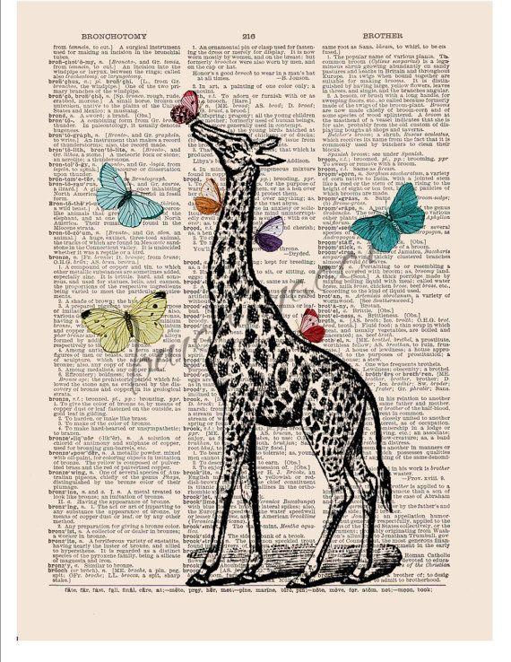 Giraffe digital wall decor art print Butterfly Nursery decor ...