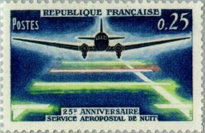 25th anniversary of airmail service at night