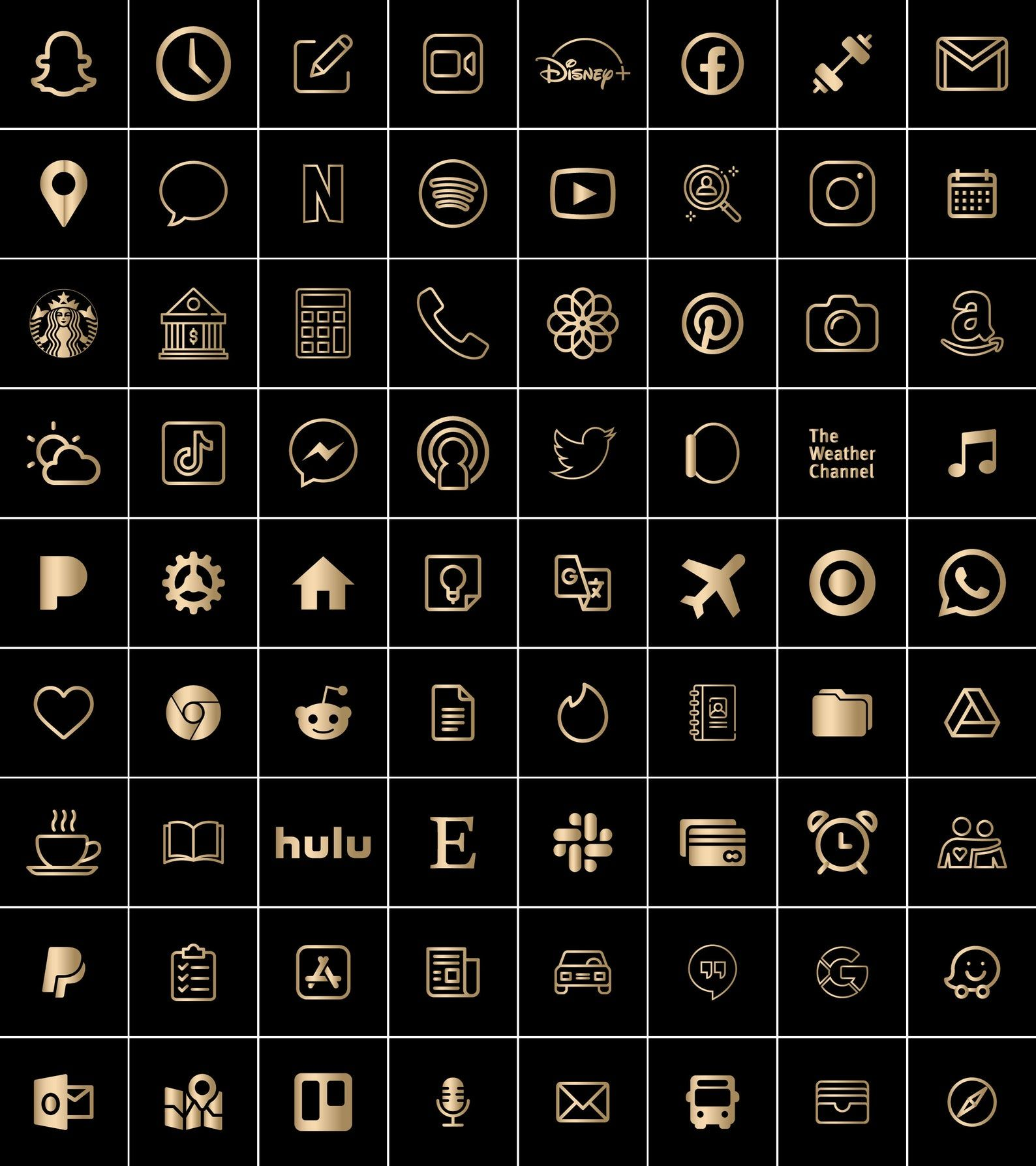 Black and Gold | 300 Aesthetic Custom App icons pa