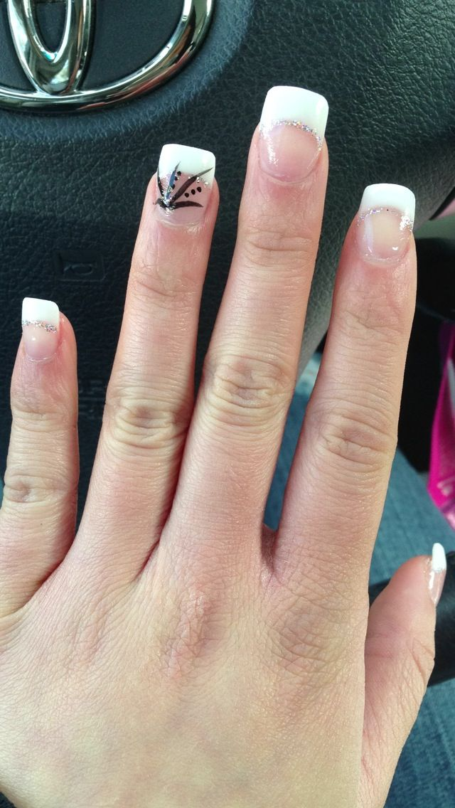 Prom nails black white silver French tips | Prom | Pinterest | Prom ...