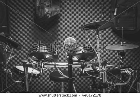 selective focus the microphone and musical instruments the guitar, drum, speakers background. music production band concept. #448172170