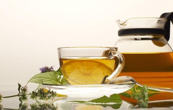 Обои картинки фото чашка, блюдце, ложка, мята, чай, лимон
