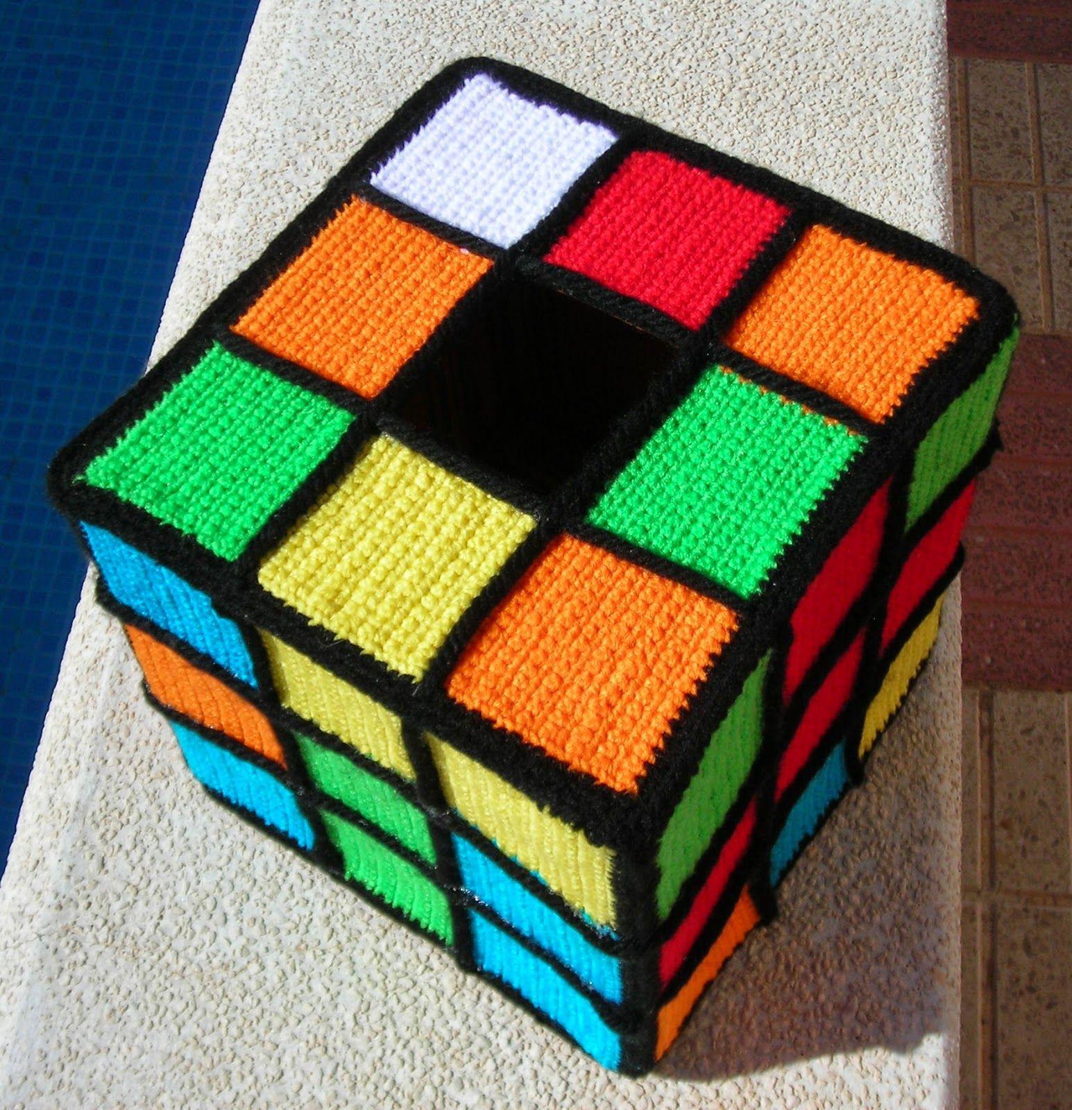 Cubo De Rubik Patrones De Lona De Plastico Cojines De Ganchillo