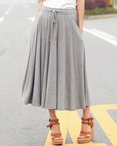 Casual Solid Color Drawstring Waist Pockets Madi Drape Skirt For Women